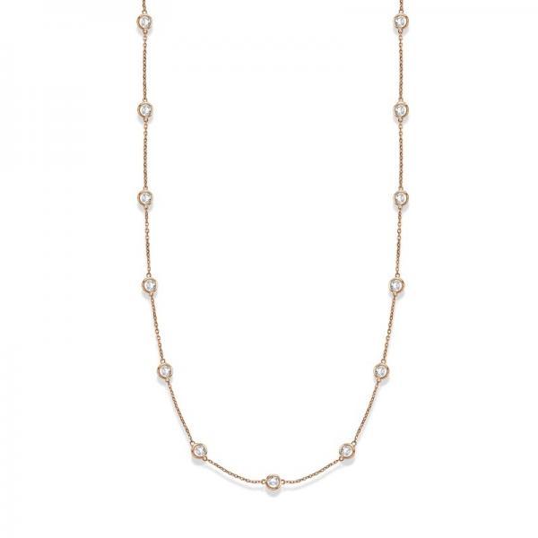 36 inch Long Diamond Station Necklace Strand 14k Rose Gold (4.00ct)