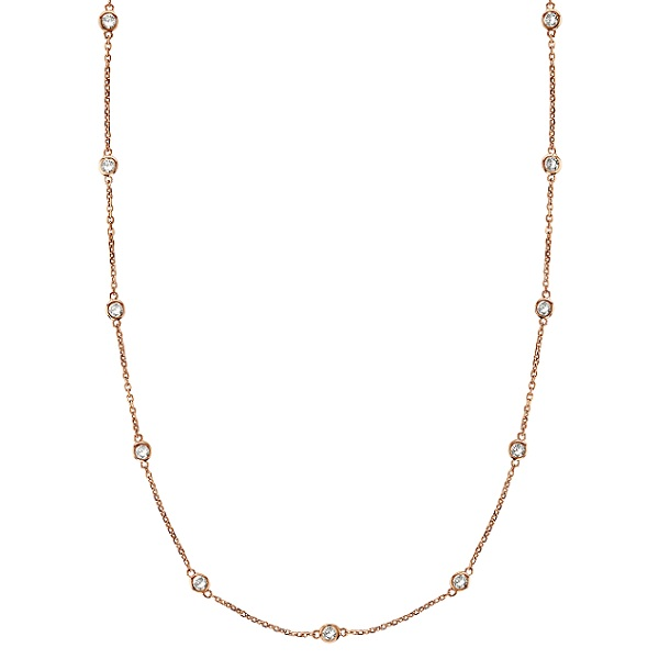 Diamond Station Necklace Bezel-Set in 14k Rose Gold (0.50 ctw)