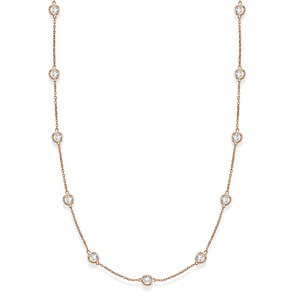 36 inch Long Diamond Station Necklace Strand 14k Rose Gold (2.00ct)