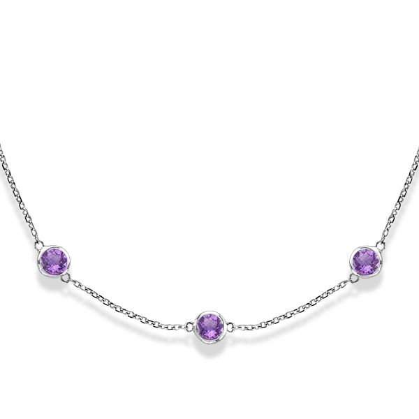Amethysts Gemstones by The Yard Station Necklace 14k White Gold 2.25ct