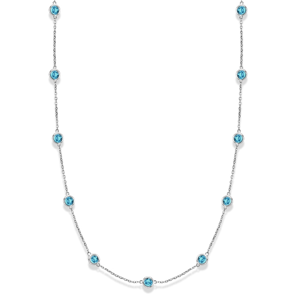 Aquamarines Gemstones by The Yard Station Necklace 14k W. Gold 2.25ct