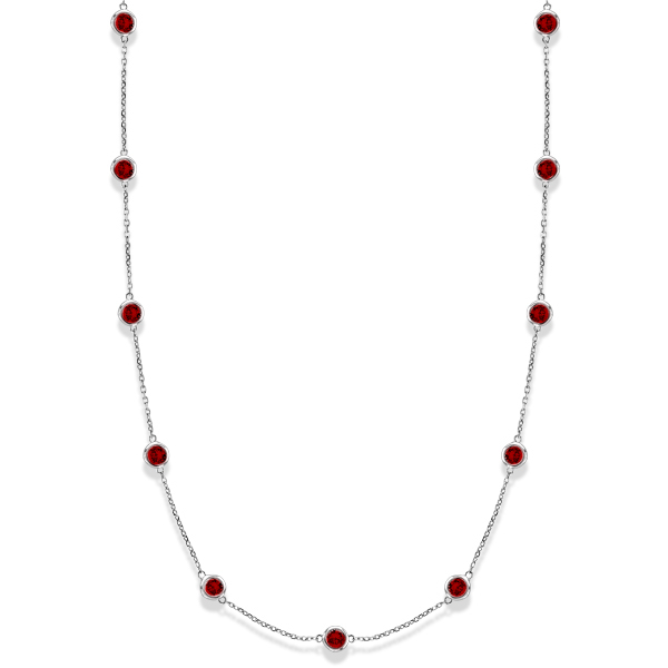 Garnets by The Yard Bezel-Set Station Necklace 14k White Gold 2.25ct