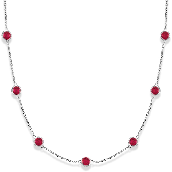 Rubies by The Yard Bezel Station Necklace in 14k White Gold 2.25ct