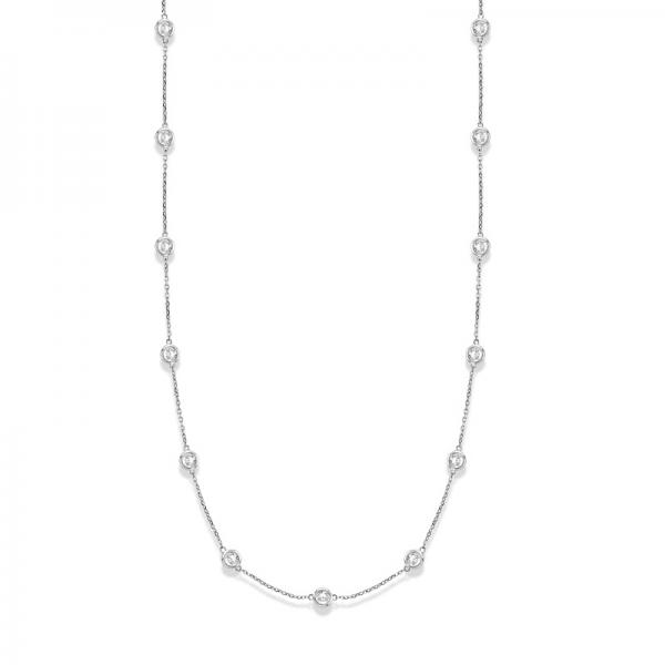 36 inch Long Diamond Station Necklace Strand 14k White Gold (4.00ct)