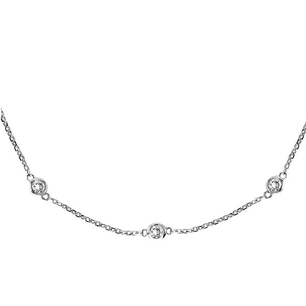36 inch Long Diamond Station Necklace Strand 14k White Gold (0.66ct)