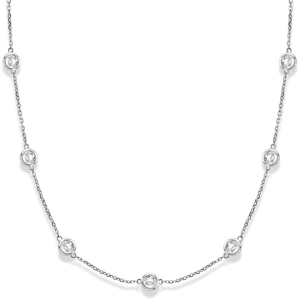 Diamond Station Necklace Bezel-Set 14k White Gold (3.00ct)
