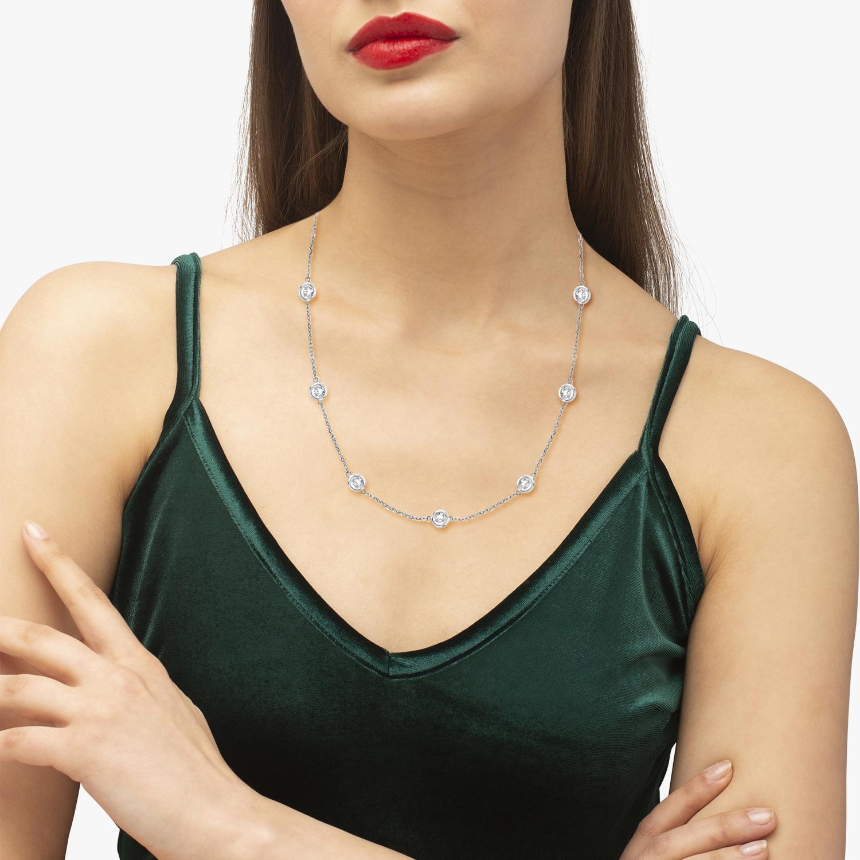 Diamond Station Necklace Bezel-Set 14k White Gold (3.00ct)