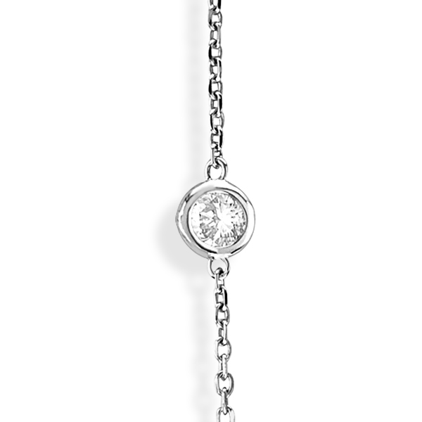 36 inch Long Diamond Station Necklace Strand 14k White Gold (7.00ct)