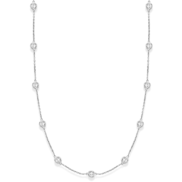 Diamond Station Necklace Bezel-Set 14k White Gold (3.50ct)