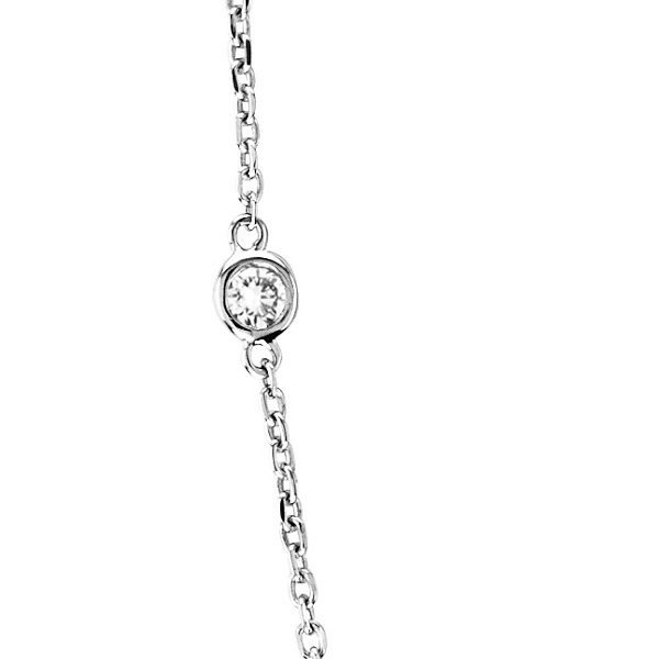 36 inch Long Diamond Station Necklace Strand 14k White Gold (1.00ct)