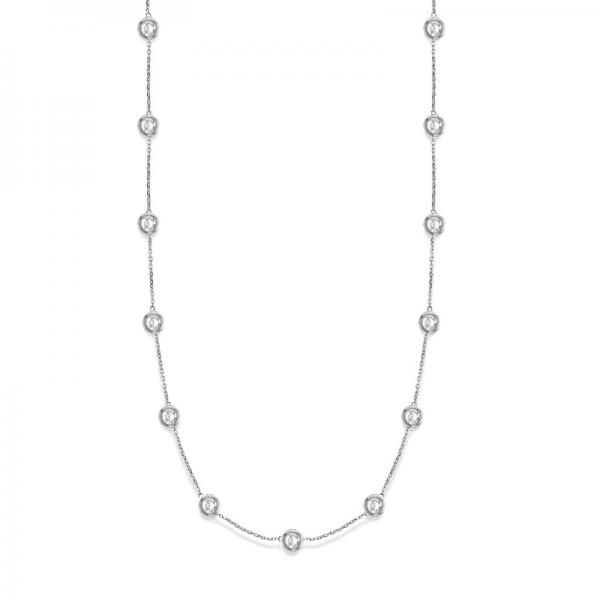 36 Inch Long Diamond Station Necklace Strand 14k White Gold (9.00ct)
