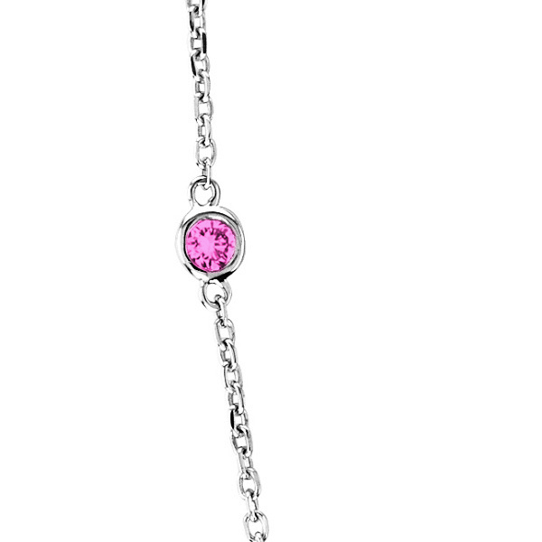 Pink Sapphires Gemstones by The Yard Necklace 14k White Gold 1.25ct