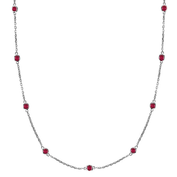 Rubies Gemstones by The Yard Station Necklace 14k White Gold 1.25ct