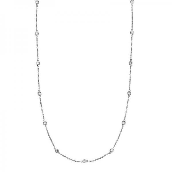 36 inch Long Diamond Station Necklace Strand 14k White Gold (1.50ct)