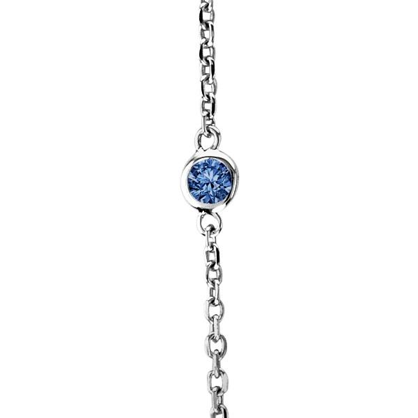 Fancy Blue Diamond Station Necklace 14k White Gold (0.33ct)