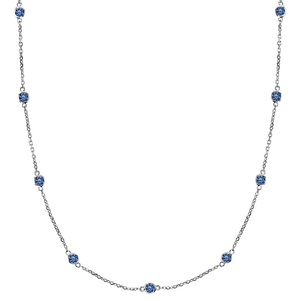 Fancy Blue Diamond Station Necklace 14k White Gold (3.00ct)