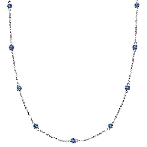 Fancy Blue Diamond Station Necklace 14k White Gold (0.50ct)
