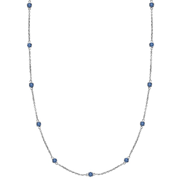 Fancy Blue Diamonds by The Yard Necklace 14k White Gold (0.50ct)