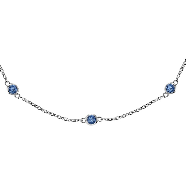 Fancy Blue Diamonds by The Yard Necklace 14k White Gold (0.75ct)
