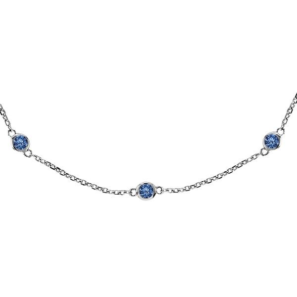 Fancy Blue Diamond Station Necklace 14k White Gold (0.75ct)