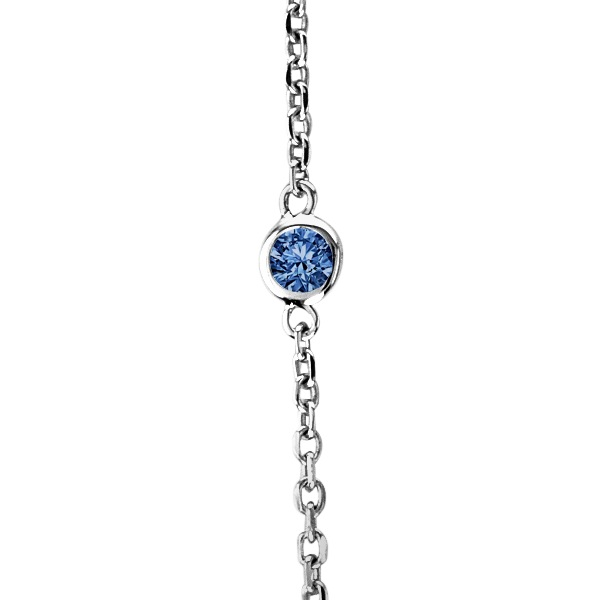 Fancy Blue Diamond Station Necklace 14k White Gold (1.00ct)