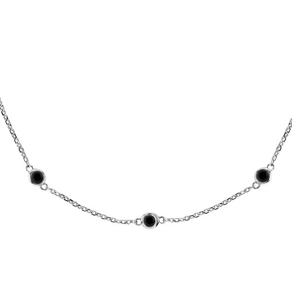 Black Diamonds by The Yard Necklace Bezel-Set 14k White Gold (0.33ct)