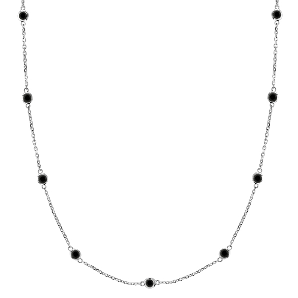 Black Diamonds by The Yard Necklace Bezel-Set 14k White Gold (3.00ct)