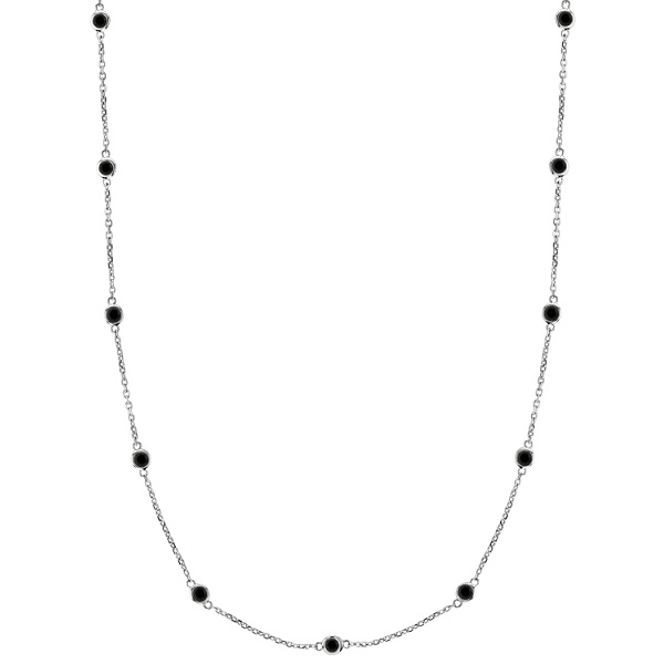 Black Diamonds by The Yard Necklace Bezel-Set 14k White Gold (0.75ct)