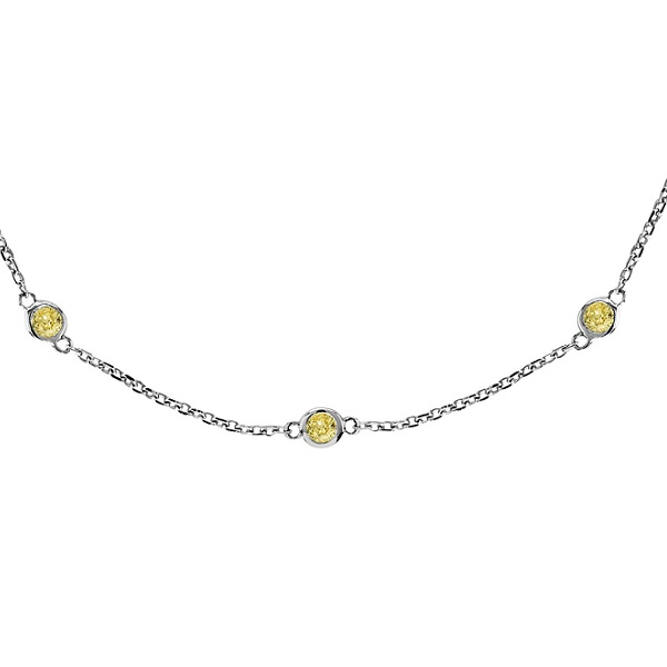 Fancy Yellow Canary Diamonds by The Yard Necklace 14k White Gold (0.33ct)