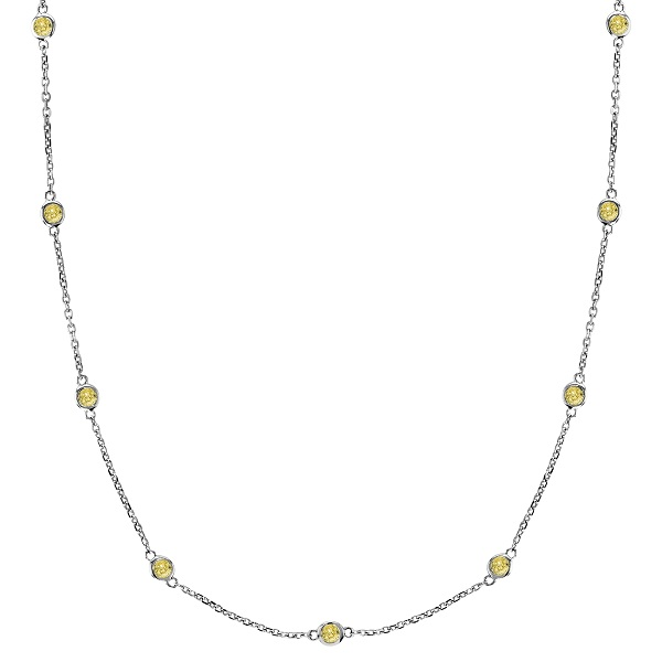 Fancy Yellow Canary Diamond Station Necklace 14k White Gold (0.75ct)
