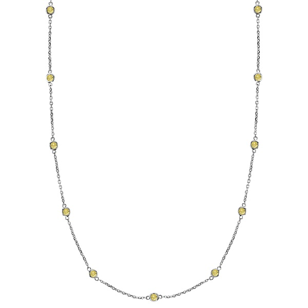 Fancy Yellow Canary Diamond Station Necklace 14k White Gold (1.00ct)