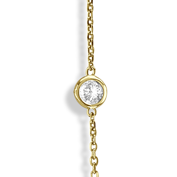 Diamond Station Necklace Bezel-Set in 14k Yellow Gold (3.00ct)
