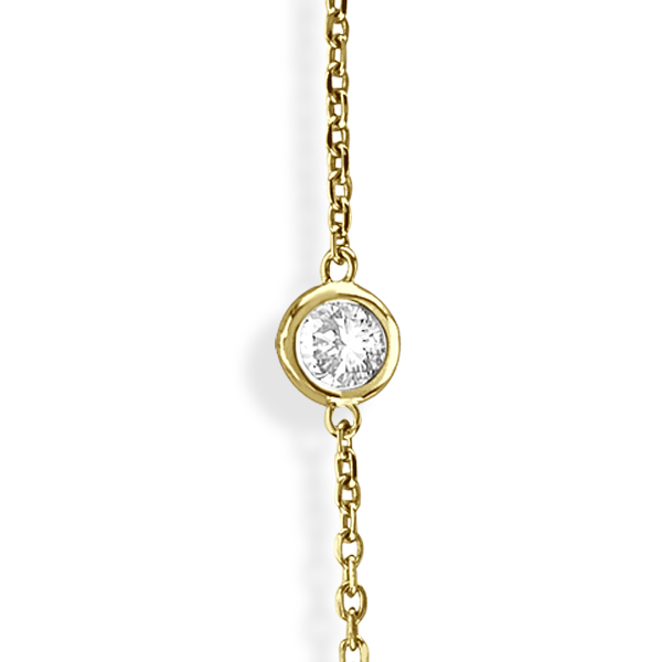 Diamond Station Necklace Bezel-Set in 14k Yellow Gold (3.50ct)