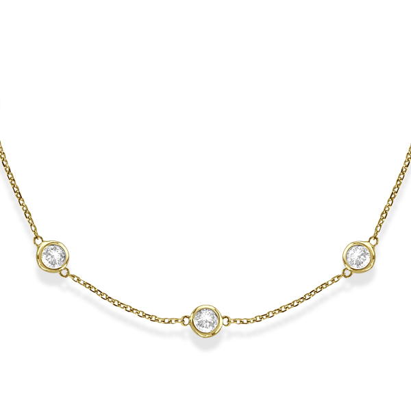 Diamond Station Necklace Bezel-Set in 14k Yellow Gold (4.00ct)