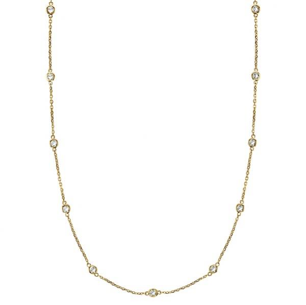 Diamond Station Necklace Bezel-Set in 14k Yellow Gold (0.50 ctw)
