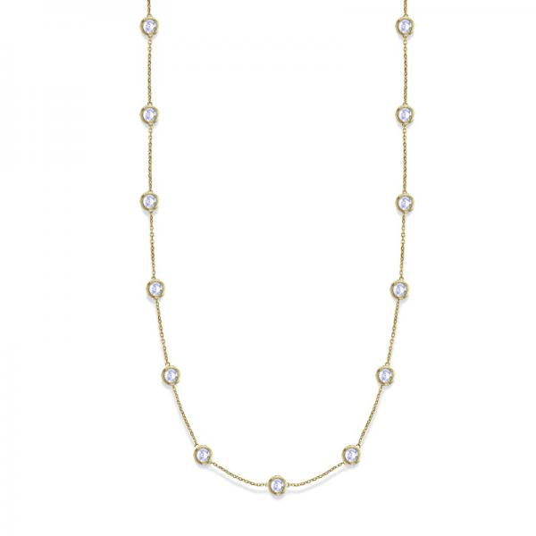 36 Inch Long Diamond Station Necklace Strand 14k Yellow Gold (9.00ct)