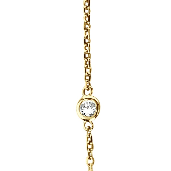 Diamond Station Necklace Bezel-Set in 14k Yellow Gold (1.00ctw)