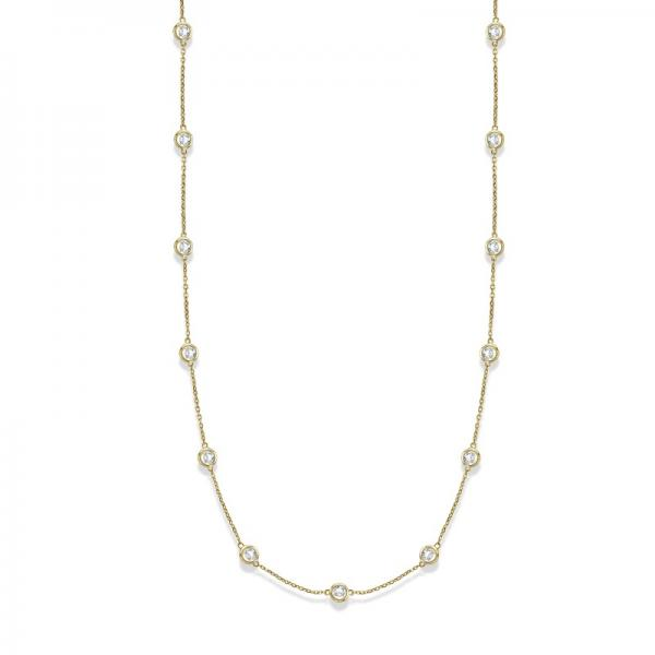 36 inch Long Diamond Station Necklace Strand 14k Yellow Gold (2.00ct)