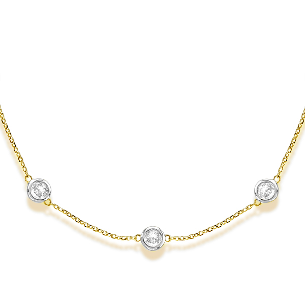Diamond Station Necklace Bezel-Set in 14k Two Tone Gold (3.50ct)
