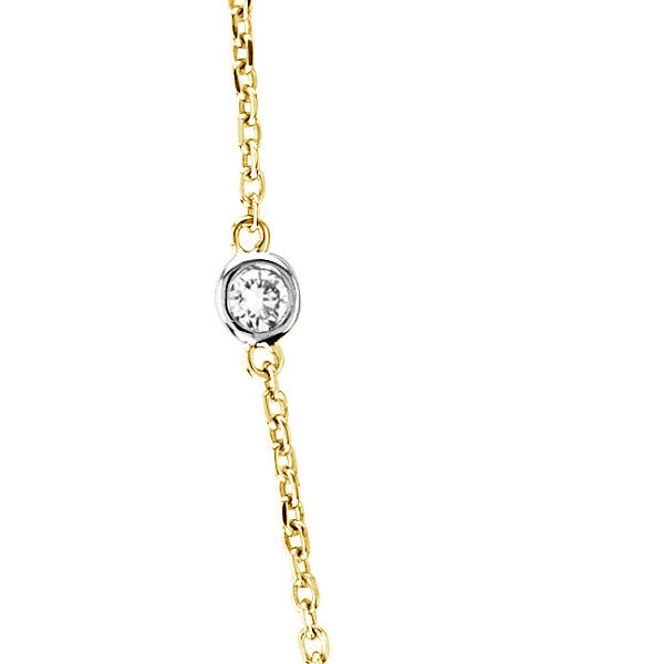 Diamond Station Necklace Bezel-Set in 14k Two Tone Gold (0.50ct)