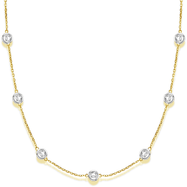 Diamond Station Necklace Bezel-Set in 14k Two Tone Gold (5.00ct)