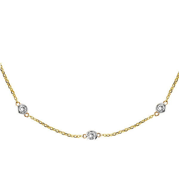 Diamond Station Necklace Bezel-Set in 14k Two Tone Gold (0.75 ctw)