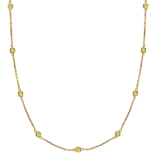 Fancy Yellow Canary Diamond Station Necklace 14k Gold (0.50ct)