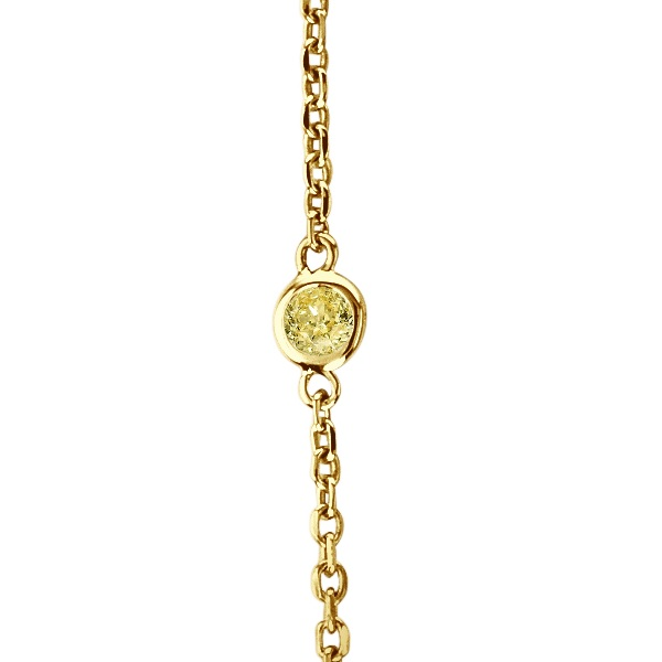 Fancy Yellow Canary Diamond Station Necklace 14k Gold (0.75ct)