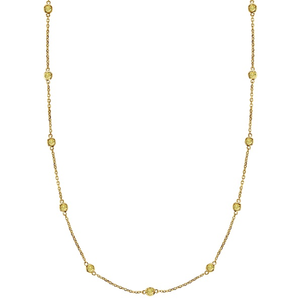 Fancy Yellow Canary Diamonds by The Yard Necklace 14k Gold (1.00ct)