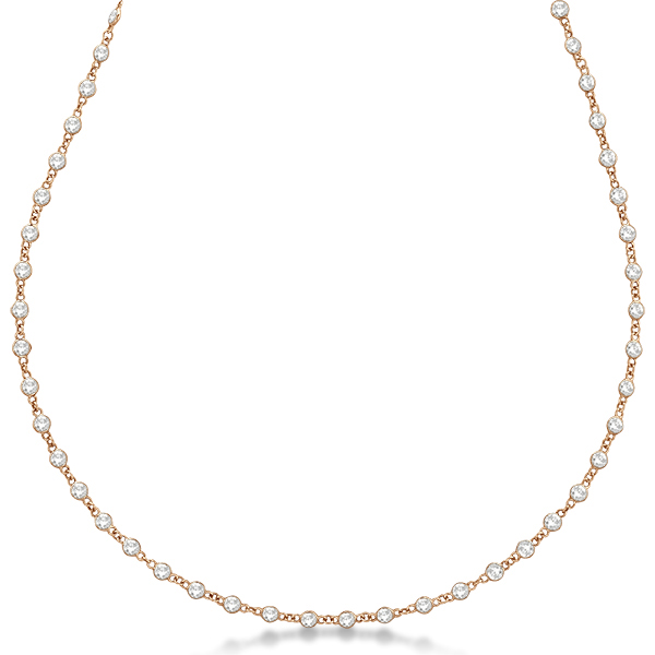 Diamond Station Eternity Necklace in 14k Rose Gold (3.04ct)