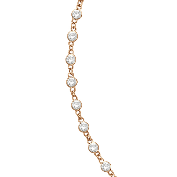 Diamond Station Eternity Necklace in 14k Rose Gold (10.00ct)