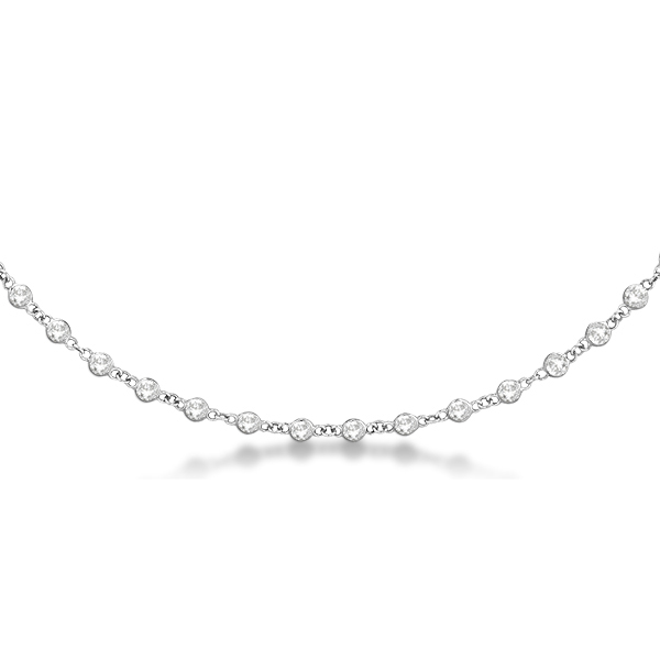 Diamond Station Eternity Necklace in 14k White Gold (3.04ct)