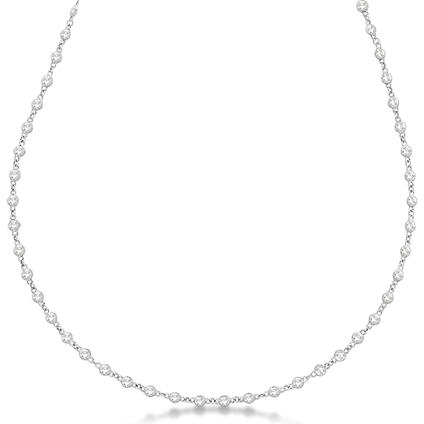 Diamond Station Eternity Necklace in 14k White Gold (4.01ct)