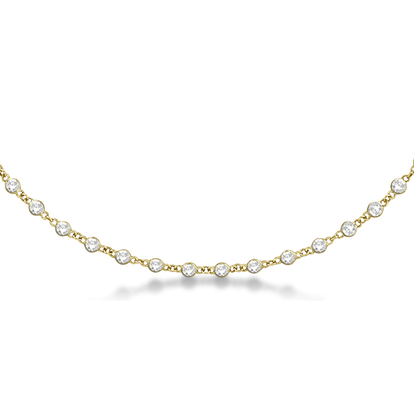 Diamond Station Eternity Necklace in 14k Yellow Gold (4.01ct)